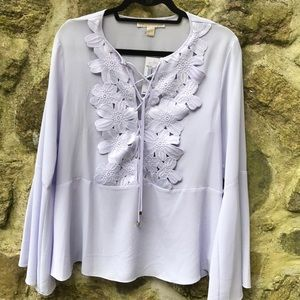 Michael Kors Lilac Blouse with Flowers size Large